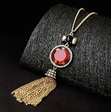 Red Stone & Rhinestone Crystal Tassel Fringe Necklace Antique Gold Long Necklace