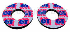 GT freestyle old school BMX bicycle grip foam donuts 3/C on WHITE (LICENSED)