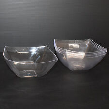 10 x 8oz/227ml Clear Hard Plastic Salad Bowl Semi-Disposable Diamond Look-Party