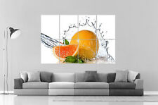 Orange Fruit Splash  Wall Art Poster Grand format A0 Large Print