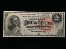 1886 Two Dollar $2 AU About New Silver Certificate Note Hancock Red Seal Fr#242