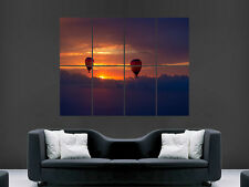 HOT AIR BALLOON BEAUTIFUL SUNSET  IMAGE  LARGE WALL POSTER PICTURE