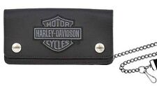 Harley-Davidson® Men's Bar & Shield Trucker Leather Chain Wallet XML8705-GRYBLK
