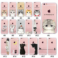 Cute Hollow Cat Painted Pattern Soft TPU Case Cover For 4S 5S SE 5C 6 6S Plus