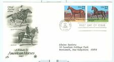 US 2158a  FDC American Horses 1985 Cancelled Lexington KY Addressed