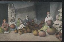 POSTCARD GRAND CANARY ISLANDS NATIVE POTTERY MARKERS AT WORK 1907