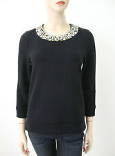 Juicy Couture Whitley Embellished Sweater Top Black Rhinestones S $248 7465 BM2