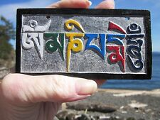 """HAND-CARVED STONE 4 3/4"""" TIBETAN BUDDHIST OM MANTRA HAND PAINTED REFUGEES NEPAL"""