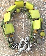 Silpada Sterling Silver Green Mother-of-Pearl Tiger's Eye Pyrite Bracelet B1132