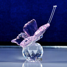 New Crystal Glass Cut Lovely Pink Butterfly Parked Clear Ball Child Gift Deco