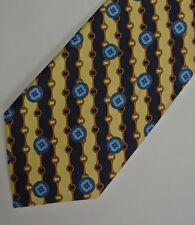 """Yellow Chain Medallion DELLA CRISTINA Silk Tie. Made in ITALY 3.9"""" W 57"""" L"""