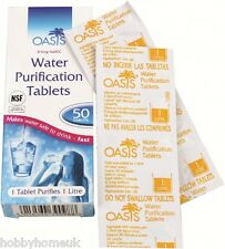 OASIS DRINKING WATER PURIFICATION TABLETS 50 PACK FOR CAMPING HIKING CHLORINE