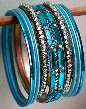 Set 9 Turquoise Blue Sparkly Bangles 56/62mm bracelet jewellery Bollywood Indian