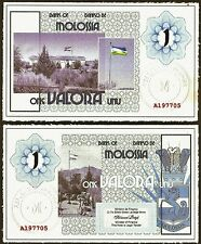 Republic of Molossia : 1 Valora Banknote from America's best known Micro-nation.