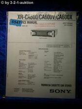 Sony Service Manual XR CA600 /CA600V /CA600X Car Stereo (#6547)