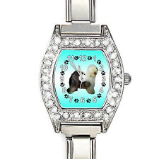 Old English Sheepdog CZ Ladies Stainless Steel Italian Charms Wrist Watch BJ1081