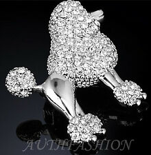 ABL09 Womens Swarovski Crystal Brooch Pin Silver Rhodium Plated Puppy Poodle