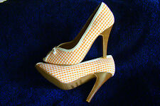 "SEXY MISS ME ORANGE & WHITE CHECK CANVAS  4""  STILETTO HEELS SHOE  NIB  6.5"
