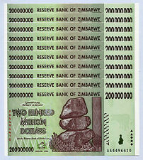Zimbabwe 200 Million Dollars x 10 pcs AA 2008 P81 consecutive UNC currency bills