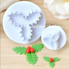 2Pcs Holly Leaf Cake Sugarcraft Decorating Fondant Plungers Cutters DIY Tools#S