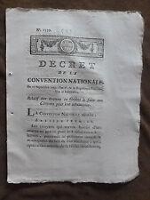 DECRET CONVENTION NATIONALE.Avances en grains à faire aux Citoyens..10 sept.1793