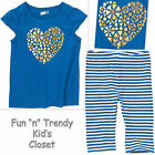 NWT Crazy 8 Girls Size 4T or 5T Heart Tee Shirt Top & Crop Leggings 2-PC OUTFIT