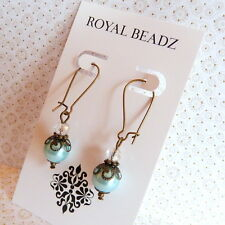 Victorian Downton Abbey Style Baby Blue Pearl Clear Crystal Drop Bronze Earrings