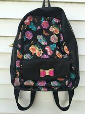 BETSEY JOHNSON FLORAL FUCHSIA ROSES BEES BLACK BACKPACK SCHOOL BAG LAPTOP