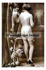 rp17550 - Nude young woman wearing stocking standing by a mirror - photo 6x4