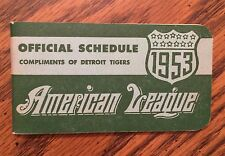 1953 American League Official Schedule Booklet By DETROIT TIGERS  Excellent MINT