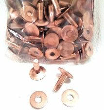 "#9 Large 1/2"" 50 Pack of COPPER RIVETS & BURRS 11280-00 Tandy Leather Rivet Burr"