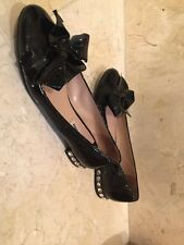 Miu Miu Jewel Heel Patent Black Leather Bow Flats MSRP 775$ Size 37-1/2