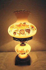 GONE WITH THE WIND VINTAGE 3-WAY FANCY FLORAL DISPLAY MILK-GLASS HURRICANE LAMP