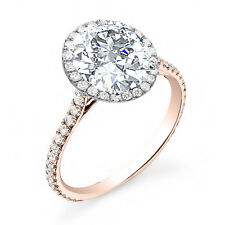 1.60 Ct Round Cut Halo Micro Pave 14k Rose Gold Natural Diamond Engagement Ring
