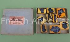 Boite 8 ancien tampon scolaire légume ail haricot artichaud champignon AA001