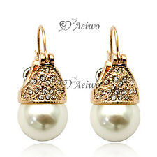 9K GF 9CT ROSE GOLD GENUINE SWAROVSKI CRYSTAL PEARL EARRINGS STUD