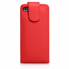 RED Plain Leather Flip Case Cover with Card Slots&clip for Apple iPhone 4/4S