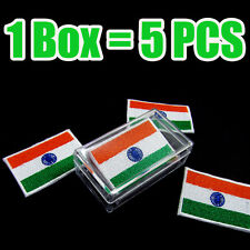 India Flag Embroidered Patch Indian Iron On National Emblem (1 Box = 5 Pcs) Lot