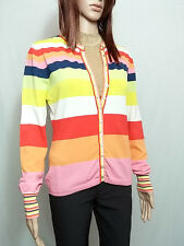 HENRY BARROWS Designer Ladies Casual Multi Striped Thin Knit Cardigan sz L AO57