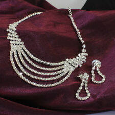 Silver Plated Wedding Bridal Party Crystal Necklace Earrings Set