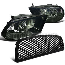 2009-2012 Dodge Ram 1500 Euro Headlight Smoke+ABS Mesh Front Hood Grille Black