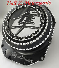 Hayabusa Black/Silver Metal Logo Clear See Through Clutch Cover w/Ball Cut Edges