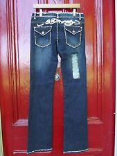Ed Hardy Boot Cut Dark Wash Jeans White Stitching & Leather NEW 29 x 34 NWT