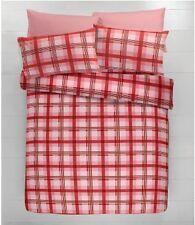 Hamish cuadros en rojo de algodón cepillado con juego de edredón doble flanelita que empareja