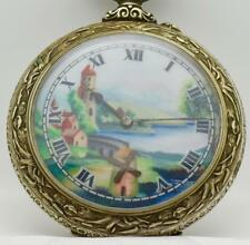 Rare antique giant fancy silvered chased case Dutch Mill Automaton Doxa watch.