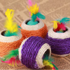 New Cat Pet Colorful Sisal Rope Chase Feather Ball Cute Kitten Play Exercise Toy