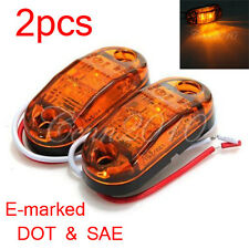 2x LED Side Marker Light Indicator Lamp Car Truck Trailer Lorry Amber Van 12V