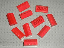 10 x LEGO Red Slope 2x4 Brick 45° ref 3037 / toit gare maison roof train station