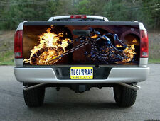 T179 FLAMING CHOPPER MOTORCYCLE TAILGATE WRAP Vinyl Graphic Decal Sticker