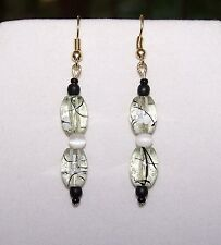 Handmade WHITE CATS EYE, PALE GREEN, BLACK ART GLASS BEAD DROP DANGLE EARRINGS